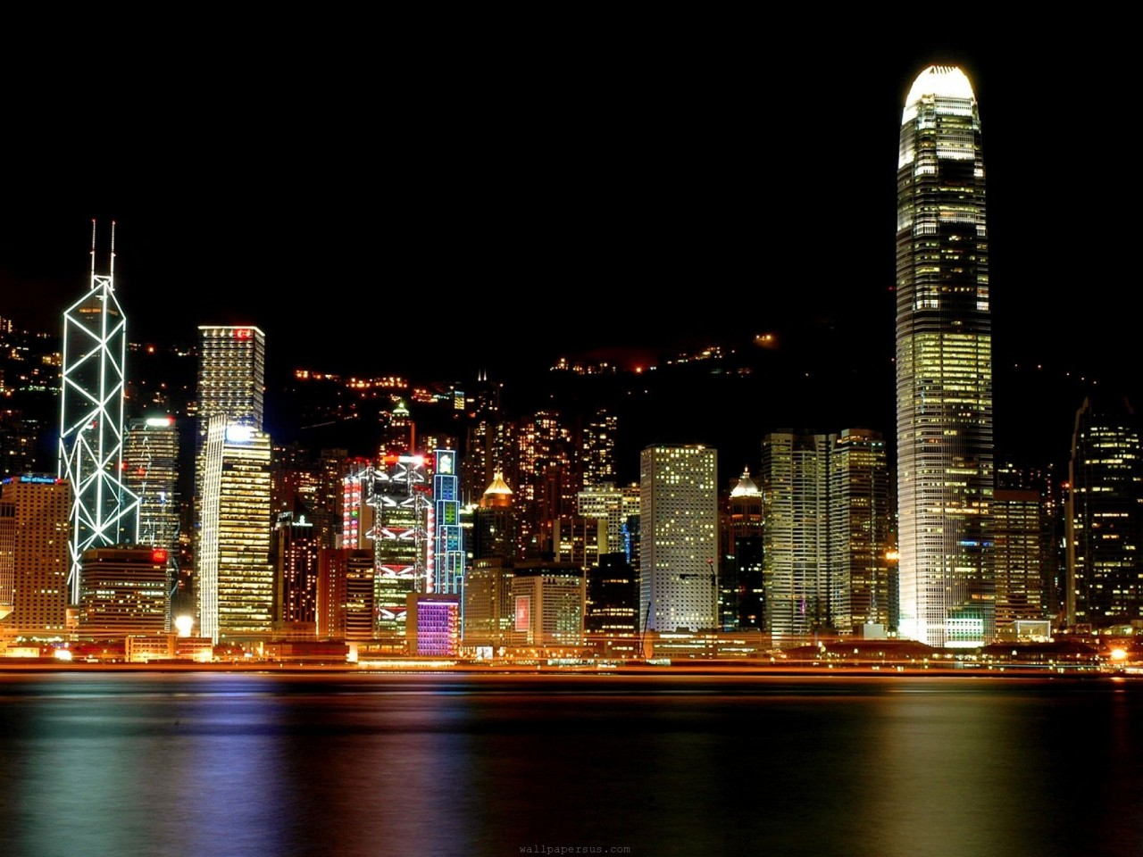 Hong Kong  Architecture  city  colors  cool  night  scene  sea HD Wallpaper