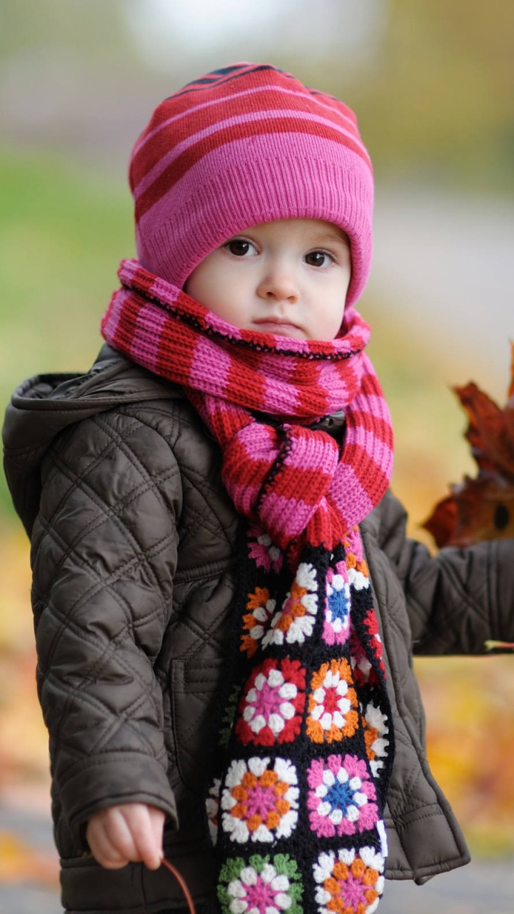 Cute Baby in Autumn   720x1280 HD Wallpaper