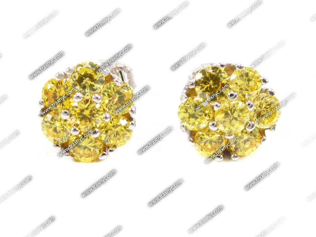Yellow Diamond Cluster Earrings Ladie s Diamond Earrings For Women HD Wallpaper