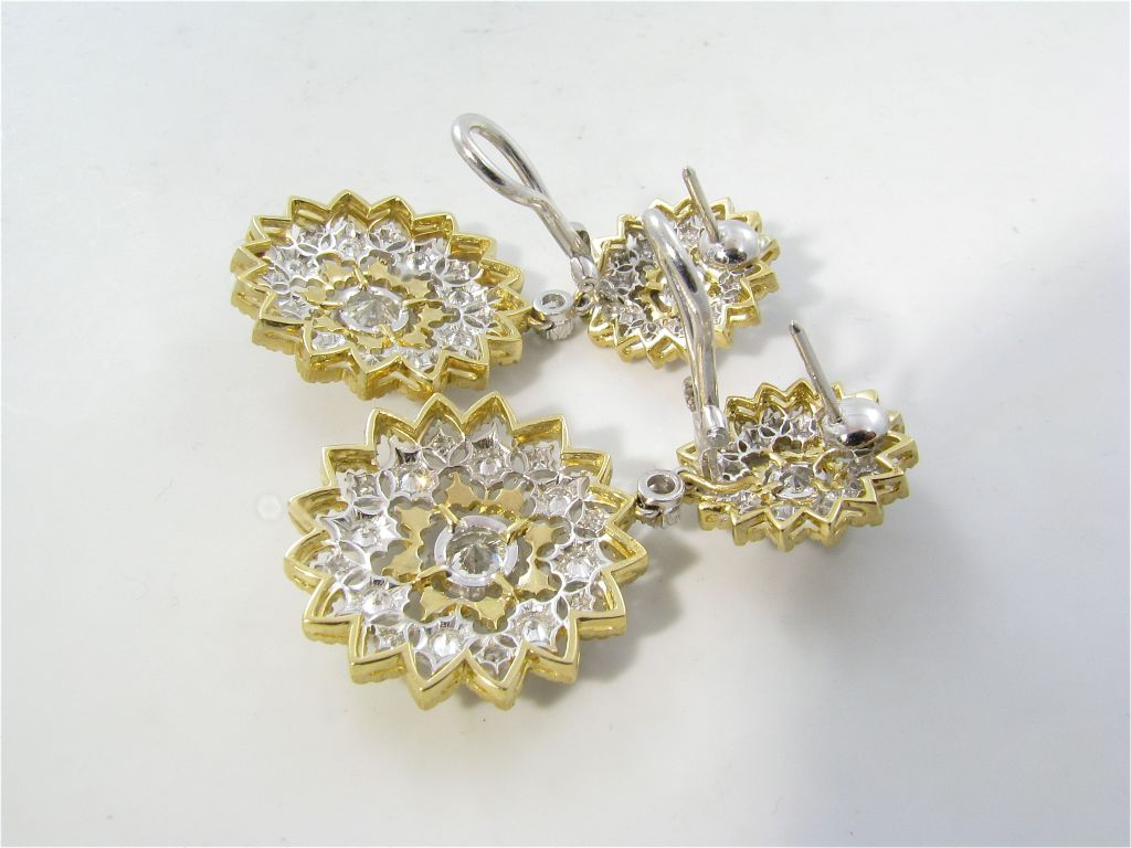 BUCCELLATI Stunning Yellow and White Gold and Diamond Earrings at HD Wallpaper