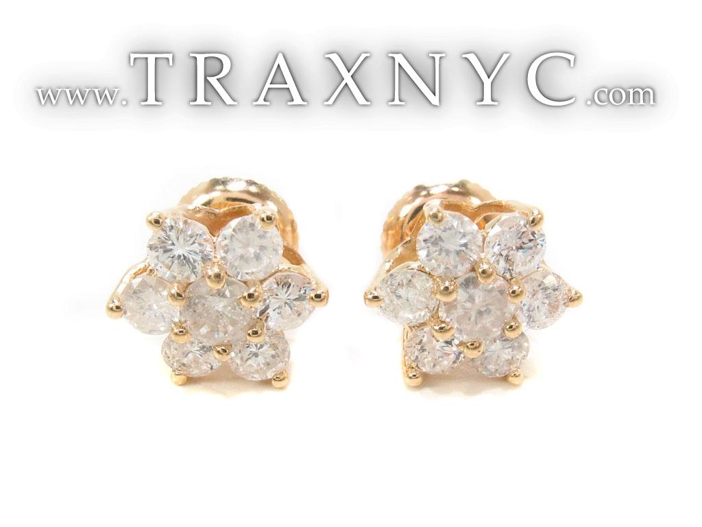 Yellow Gold Medium Flower Cluster Earrings Ladies Diamond Earrings HD Wallpaper