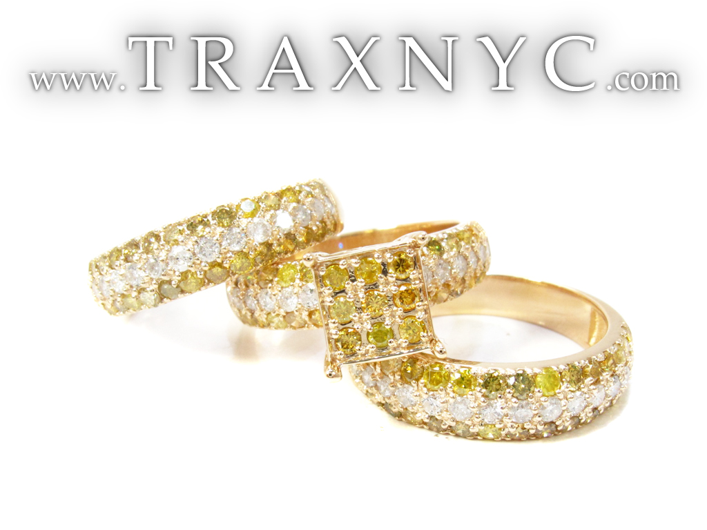 Yellow Gold Round Cut Prong Diamond Ring Set Ladies Featured Ring HD Wallpaper