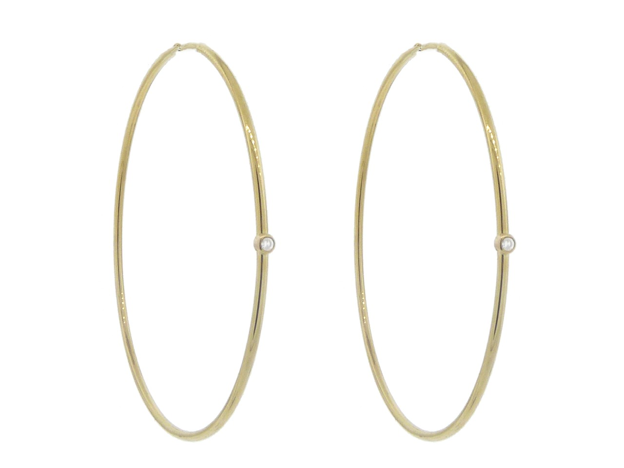 Jennifer Meyer  Medium Hoops with Diamonds   Yellow Gold  YLANG HD Wallpaper