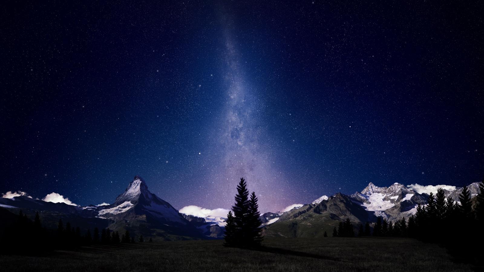 Swiss Alps Night Sky HD Wallpaper
