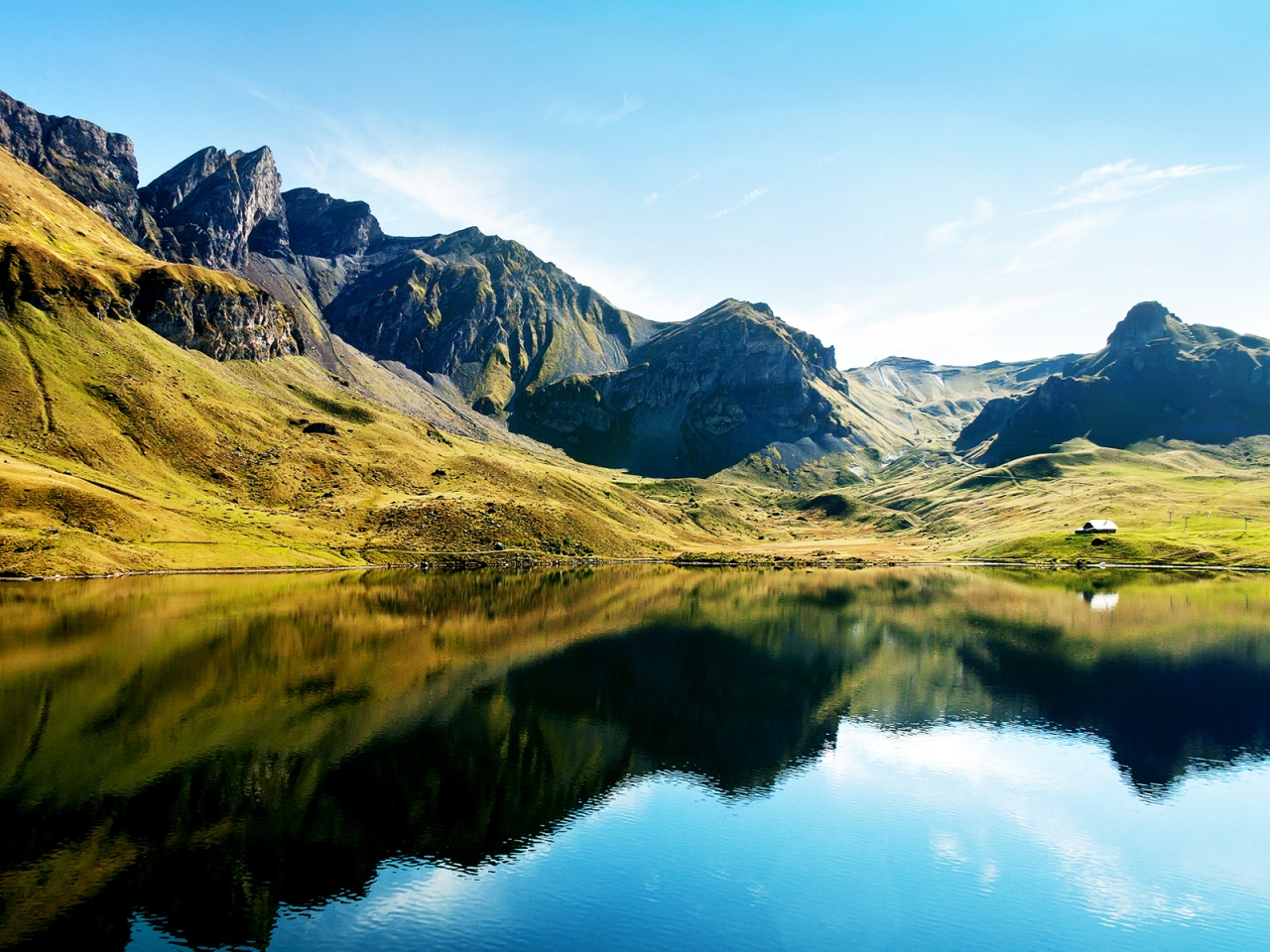 Swiss Alps Lake HD  HD Wallpaper