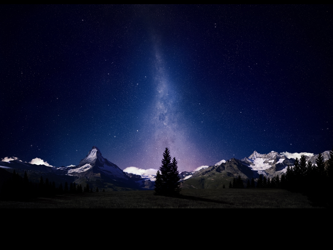 Swiss Alps Night Sky Facebook HD Wallpaper