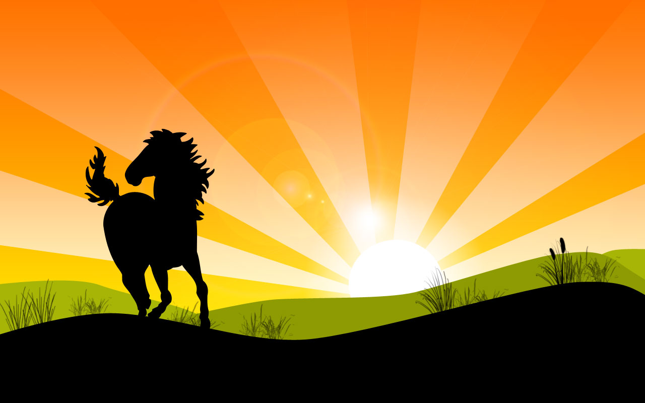 landscape with horse by HD Wallpaper
